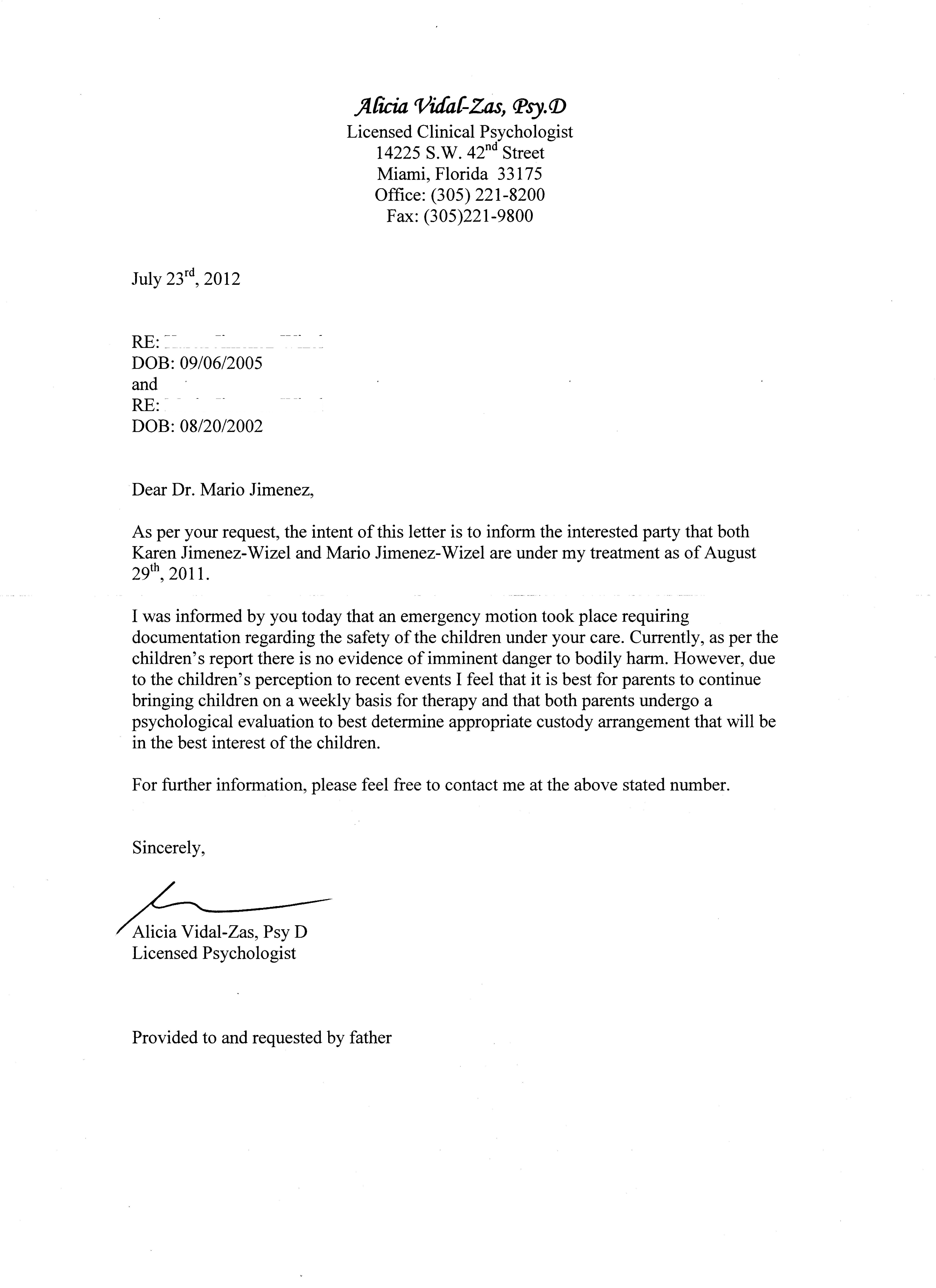 Sample Request Letter To Psychologist