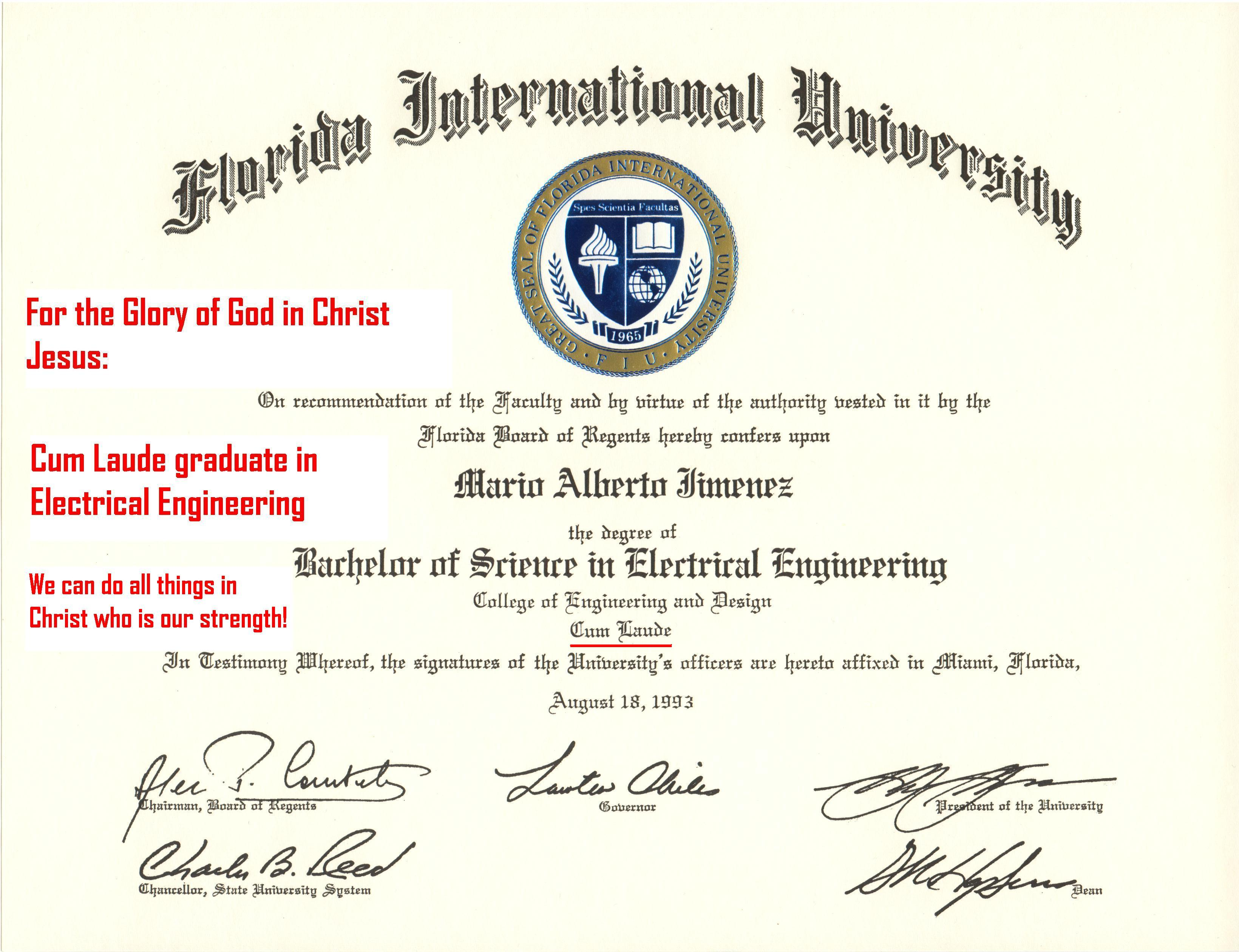 Mario A- FIU Bachelor of Science in Electrical Engineering - Say ...